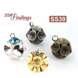 Round Ball Pendant Setting Fit 6 pcs Swarovski SS39