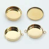 Gold Filled Bezel cup base. Choose your Size and loops