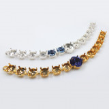 """SS39 European Crystals Bracelet with 12mm Square Setting, 14cm (5.5"""") -Shiny Gold"""