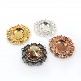 18mm Round Centerpiece with Crystals Fit Swarovski 1122-Shiny Gold