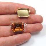 Octagon 18x13mm Bezel Connector fit Swarovski 4610-Rose Gold