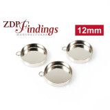 12mm Round Bezel Cup, 925 Sterling silver