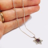 Sterling silver 925 Necklace,Natural Red Garnet , Star of David , Length 16.5""