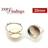 20mm Round Bezel on Ring,  925 Sterling silver. Choose your size.