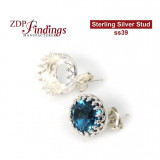Stud earring bases for European Crystals ss39 Sterling Silver 925