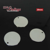 Round 20mm Shiny Silver Plated Flat Tag Disc
