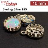 10mm Round 925 Silver Bezel