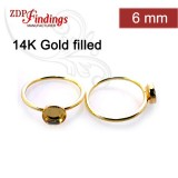 8x6mm Oval Bezel on Ring Gold Filled, Choose your size
