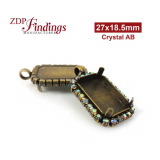 27x18.5mm Antique Brass Octagon Pendant Bezel Setting with Swarovski AB Rhinestones