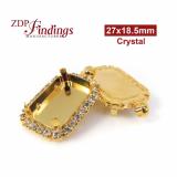 27x18.5mm Shiny Gold Octagon Bezel Setting with Swarovski Crystal Rhinestones, Shiny Gold Plated