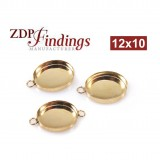 12x10mm Oval Gold Filled Bezel Cup with 2 Loops