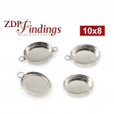 10x8mm Oval 925 Sterling silver Bezel Cup Connector