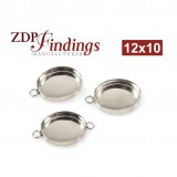 12x10mm Oval 925 Sterling silver Bezel Cup Connector