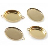 16x12mm Oval Gold Filled Bezel Cup with 1 Loop