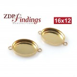 16x12mm Oval Gold Filled Bezel Cup with 2 Loops