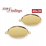 40x30mm Oval Gold Filled Bezel Cup Connector