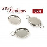 6x4mm Oval 925 Sterling silver Bezel Cup Connector