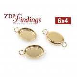 6x4mm Oval Gold Filled Bezel Cup Connector