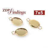 7x5mm Oval Gold Filled Bezel Cup Connector