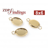 8x6mm Oval Gold Filled Bezel Cup Connector