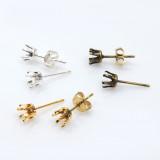 Round Bezel Post Earrings Fit European Crystals Rivoli PP32 -Shiny Silver