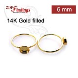 6mm Round Bezel on Ring,  Gold Filled. Choose your size.