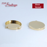 30mm Round Vermeil Bezel Cup with 3 Loops