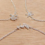 """Silver Plated Link Chain Delicate CZ Necklace, Length 16"""""""