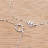 Silver Plated Link Chain Delicate CZ Necklace, Length 16""
