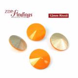 CRAZY SALE !! Round 12mm Rivoli Suitable Swarovski 1122. Opaque Orange Czech Crystals